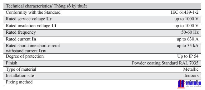 thông số kĩ thuật của tủ điện phân phối HC1